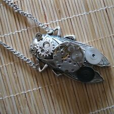 steampunk rock gothic punk chain pendant watch parts cicada women girl jewelry
