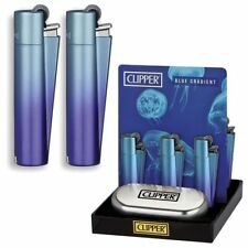 METAL BLUE GRADIENT CLIPPER LIGHTER WITH GIFT CASE TIN GENUINE BLUE PURPLE MIX