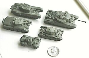5 Vintage Metal Comet Authenticast British Military Tanks close to HO scale WWII