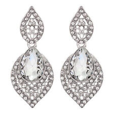 Pierced Sparkly Diamante Bridal Style Leaf Shaped Clear Crystal Drop Earrings