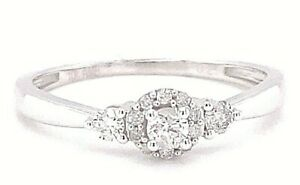 Ladies Womens Solid 10k White Gold Real 0.25ct Diamond Solitaire Engagement Ring