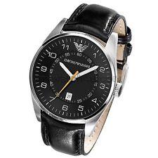 Emporio Armani Edición Limitada De Caballero Cuero Negro Reloj Correa y caja de acero inoxidable AR5861