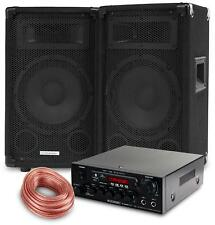 DJ PA SYSTEM PARTY DISCO SET SPEAKERS BLUETOOTH AMPLIFIER CABLE USB MP3 EQ 600W