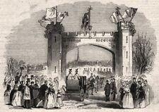 Triumphal arch, Belgrave Gate, Leicester. Leicestershire, antique print, 1843