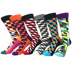 6 Color Mens Colorful Crew Socks Premium Cotton with Soft Elastic 6 Pack Bundle