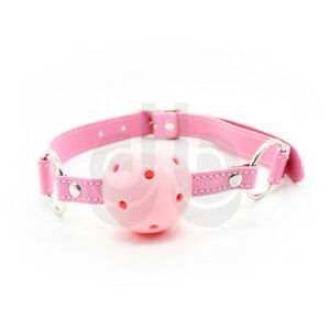 Pink Real Leather Bondage Ball Gag - Adjustable Size + Breathable - 2 materials