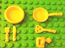 LEGO Yellow/Lt Orange Minifig KITCHEN UTENSIL SET! Plate Fork Knife Food Friends