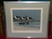 Georges Laporte - Edge Sea Brittany Litho Signed 1/250 Frame Metal 43x38