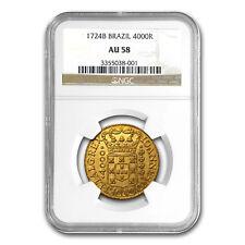 1724-B Brazil Gold 4000 Reis Joao VI AU-58 NGC