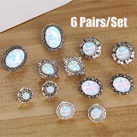 6Pairs/Set White Fire Opal Ear Studs Earrings Drop Dangle Weddings Jewelry  zi