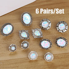 6Pairs/Set White Fire Opal Ear Studs Earrings Drop Dangle Weddings Jewelry Gi FD