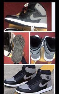 AIR JORDAN 1 RETRO HIGH OG 555088-013 SIZES 8'' Black/grey/noir/gris
