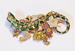 Kirks Folly AB Crystal and Colorful Enamel Fairytale Lizard Brooch