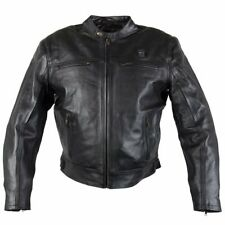 Hell Rider Men's Black Leather Heated Motorcycle Jacket with armor 3XL