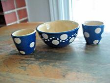 Vintage Set of 2 Egg Cups & Small Bowl Blue & White Polka Dot Burgel Germany