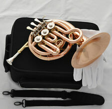 Prof. Phosphor copper Piccolo MiNi French Horn Bb Keys Engraving Bell With Case