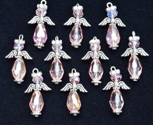 10pc GUARDIAN ANGELS Charm Set Handmade, size 25x16mm, AB Rose Pink