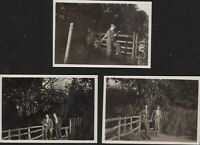 Headley, Hampshire 1932,  3 gentlemen or more  by picket fence  & gate    QY622