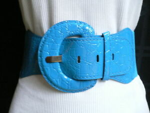 Women Belt Hip Elastic High Waist Bright Sky Blue elastic Waistband Croco XS S M