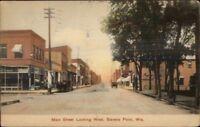 Stevens Point WI Main St. West c1910 Postcard