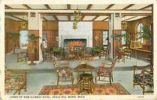 1928 Lobby Of New Ojibway Hotel, Sault Ste Marie, Michigan Postcard
