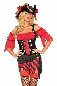 Buccaneer Babe Pirate Costume, Leg Avenue 83664, Adult Women's Size S/M and M/L
