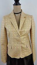 J Crew Womens Blazer Jacket Size 4 Gold Silk Cotton Metallic Jacquard New