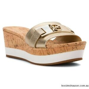 New Michael Kors Warren Platform metallic Open Toe MK Logo Sandal pale gold cork