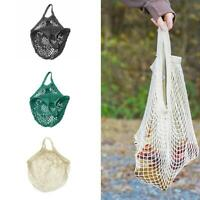 Mesh Shopping Bags Cotton Eco Friendly Tote String Foldable Reusable Grocery New