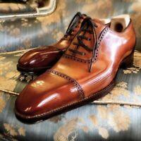 Chaussures à lacets en cuir véritable pour hommes faits à la main en cuir Oxford
