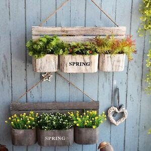 Country Style Wall Hanging Wooden Flower Basket Home Vintage Flower Pot Holder