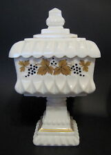 Vintage Westmoreland Milk Glass Compote Square White Hand Painted Grapes 10 Inch