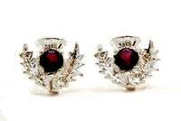 Sterling Silver Garnet Studs Scottish Thistle earrings Gift Boxed Made in UK