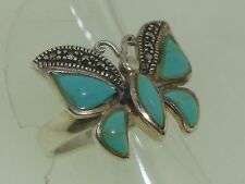BEAUTIFUL STERLING SILVER TURQUOISE & SPARKLING MARCASITE RING! SZ 7 1/2