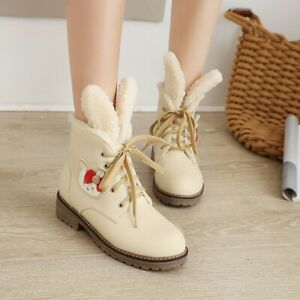 Women's Cute Rabbit Ear Round Toes Flats Heel Lace Up Casual Ankle Boots Winter