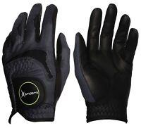XSpiders Men's Golf Glove 6 Packs BLACK Sheepskin & Microfiber Durable + GIFT