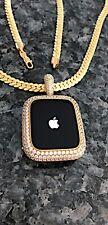 Watch Bezel wear on neck or wrist 40mm Pendant Necklace Gold Lab Diamond Apple