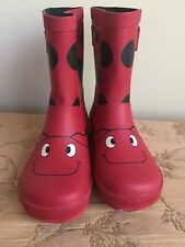 EUC Lands End Kids Ladybug Red  Rubber Rain Boots  sz 3M