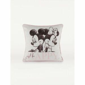 Grey Disney Mickey and Minnie Mouse Cushion