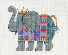 Patti Mann Elephant handpainted Needlepoint Canvas or Ornament 18 Mesh