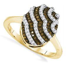 Diamond Ring 10K Yellow Gold Chocolate Brown & White Diamond Oval Ring .33ct