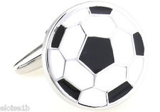 SILVER & WHITE WORLD CUP CLASS FOOTBALL CUFFLINKS WITH VELVET POUCH,  uk seller