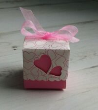 20 boites contenant dragées mariage bapteme coeur  rose blanc neuf