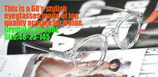 Retro round eyeglass frame 1960's mens Johnny Depp eyewear Crystal acetate frame
