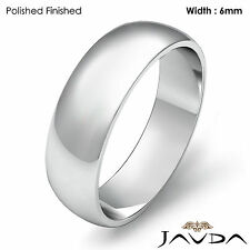 Mens Wedding Band Dome Plain High Polish Solid Ring 6mm Platinum 10.6gm 12-12.75