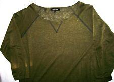 Jaeger Linen Jersey Top khaki green 3/4 sleeve sweatshirt 100% linen Size L vgc