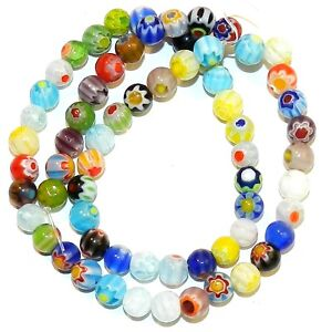 """G4245 Assorted Color Single Flower Millefiori 6mm Round Glass Beads 13"""""""