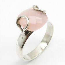 Anillo De Oro Rosa de piedras preciosas latelita apilamiento de Cuarzo Rosa Regalo Joyas midi plata