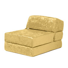 Chartreuse Envie Crushed Velvet Single Chair Sofa Zbed Seat Foam Fold Out Guest