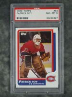 PSA 8 Patrick Roy Rookie 1986 Topps #53 Graded Hockey Sports Card RC